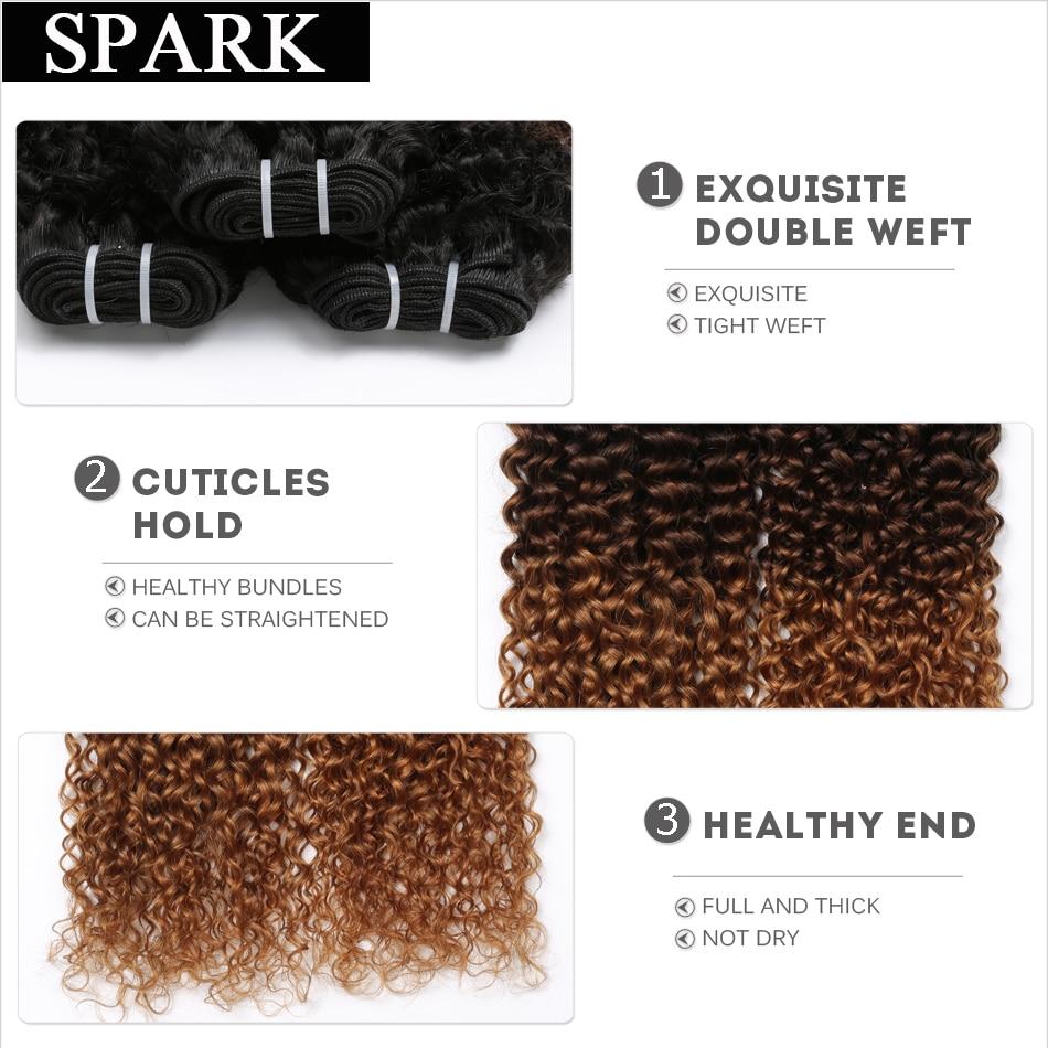 Spark Human Hair Mongolian Kinky Curly Three Tone 1B/4/30 Ombre Hair Bundles Human Hair Extensions 3/4pc Remy Human Hair Weaving