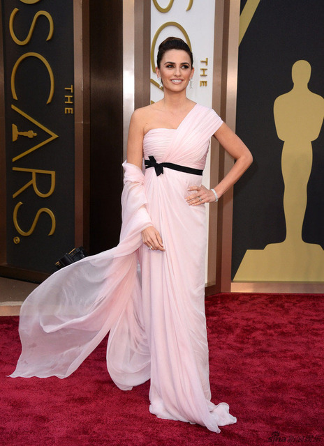 2d751006bf 2017 Oscars One Shoulder Evening Dress Penelope Cruz Chiffon 86th Academy  Awards Red Carpet Celebrity Dress