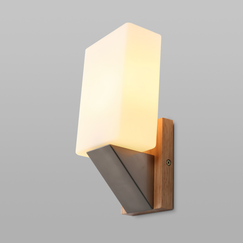 ФОТО New study dining room bedroom reading lamp reading simple modern oak stair glass lampshade Fashion simple and unique wall lamp
