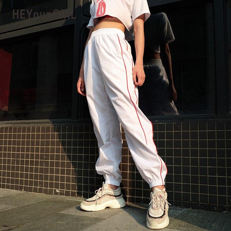 HEYounGIRL White Striped Women Sweatpants Casual Baggy Harem   Pants     Capri   Pockets Fashion Long Trousers Streetwear Female Joggers