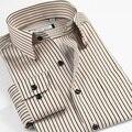 Plus Size 37-46 Novas 2016 Primavera Outono Dos Homens Camisas de Vestido Ocasional Camisa Tarja de Manga Comprida Moda