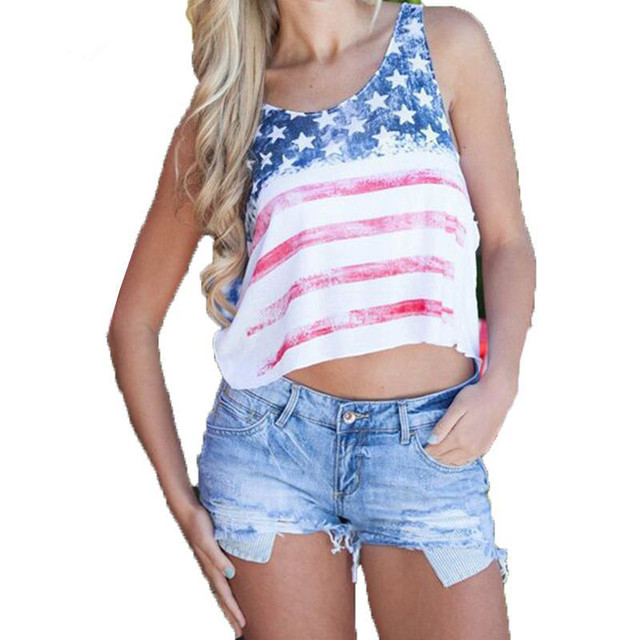 d2cb78894d9 2018 Summer America Flag Star   Stripes Print Tops Sexy Women Beach Wear  Crop Top Clothes Cropped Tops Girls Plus Size USA Shirt