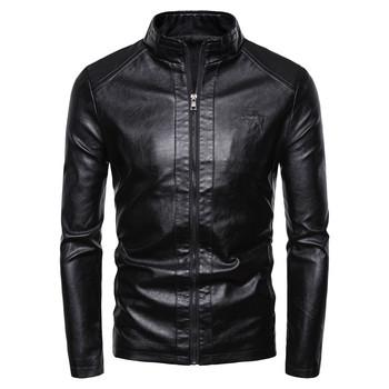 Męskie kurtki skórzane jesienne zimowe grube płaszcze męskie czarne aksamitne Faux Biker motocyklowe kurtki ciepłe męskie kurtki rozmiar 4XL tanie i dobre opinie STANDARD Faux leather Sukno Skóra i zamszowe NONE Skóra syntetyczna Coat Stałe REGULAR zipper Pełne Na co dzień