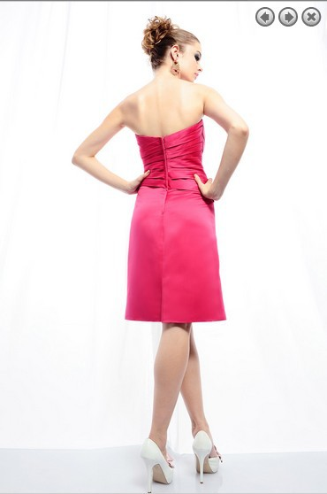 free shipping brides maid dresses 2014 new fashion bridal gown plus size short sweetheart fuschia dresses bridesmaid dresses in Bridesmaid Dresses from Weddings Events