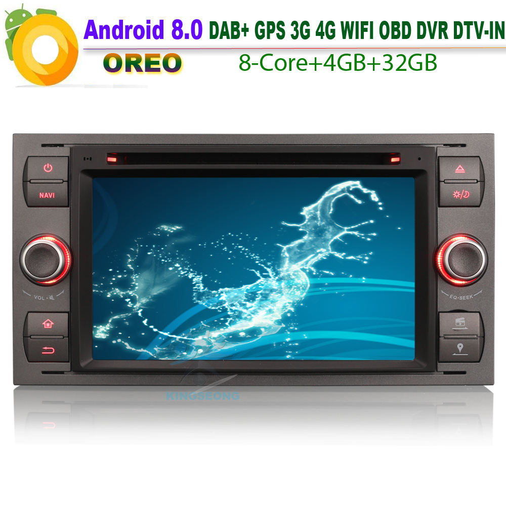 Details about Android 8.0 Car DVD CD Player GPS DAB+ WiFi 4G BT SD Radio OBD for FORD FOCUS FIESTA KUGA GALAXY TRANSIT Sat Nav