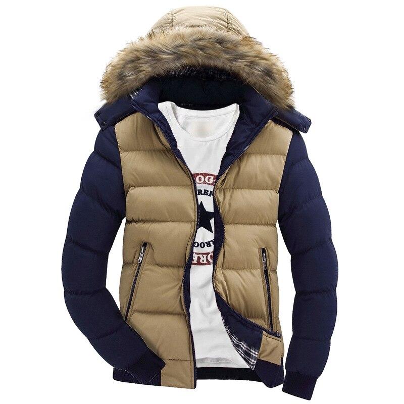 2017 Neue Winter Jacke Männer Gefälschte Pelz Kragen Wadded Jacke Mit Kapuze Unten Mann Baumwolle Gefütterte Jacken Verdickung Männer Winter Mantel Parkas