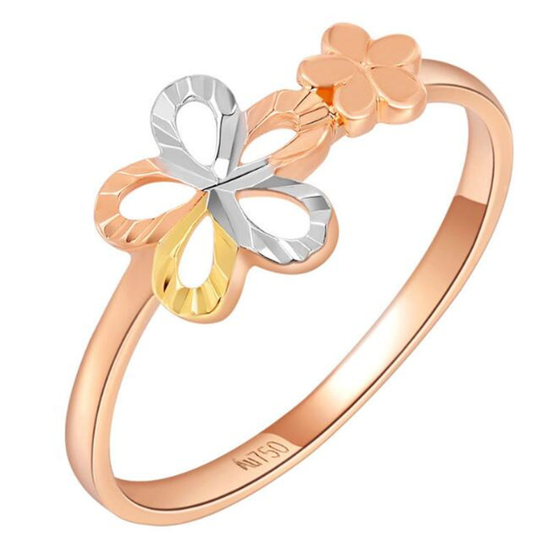 цена на 100% Real 18K Gold Rings For Women With Double Flower Fashion Jewelry Wholesale 2018 Hot Sell Mother Day Gift