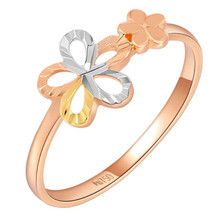 100% Real 18K Gold Rings For Women With Double Flower Fashion Jewelry Wholesale 2018 Hot Sell Mother Day Gift