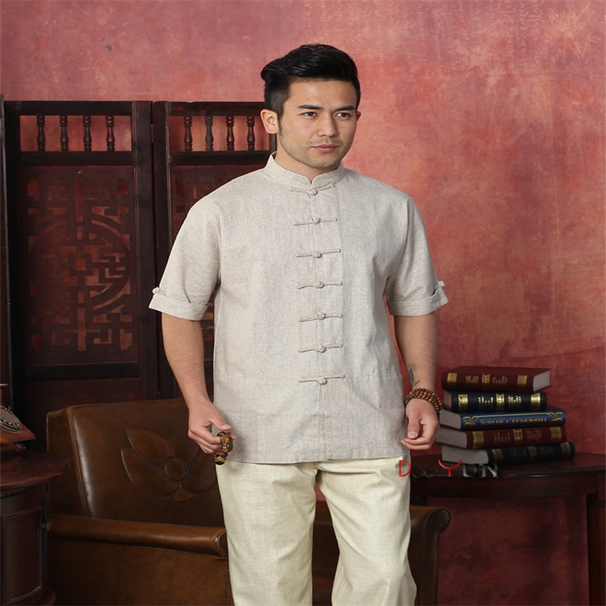 High Quality Beige Chinese Men's Cotton Linen Kung Fu Shirt Vintage New Chinese Button Costume Tang Suit  Size S M L XL XXL XXXL