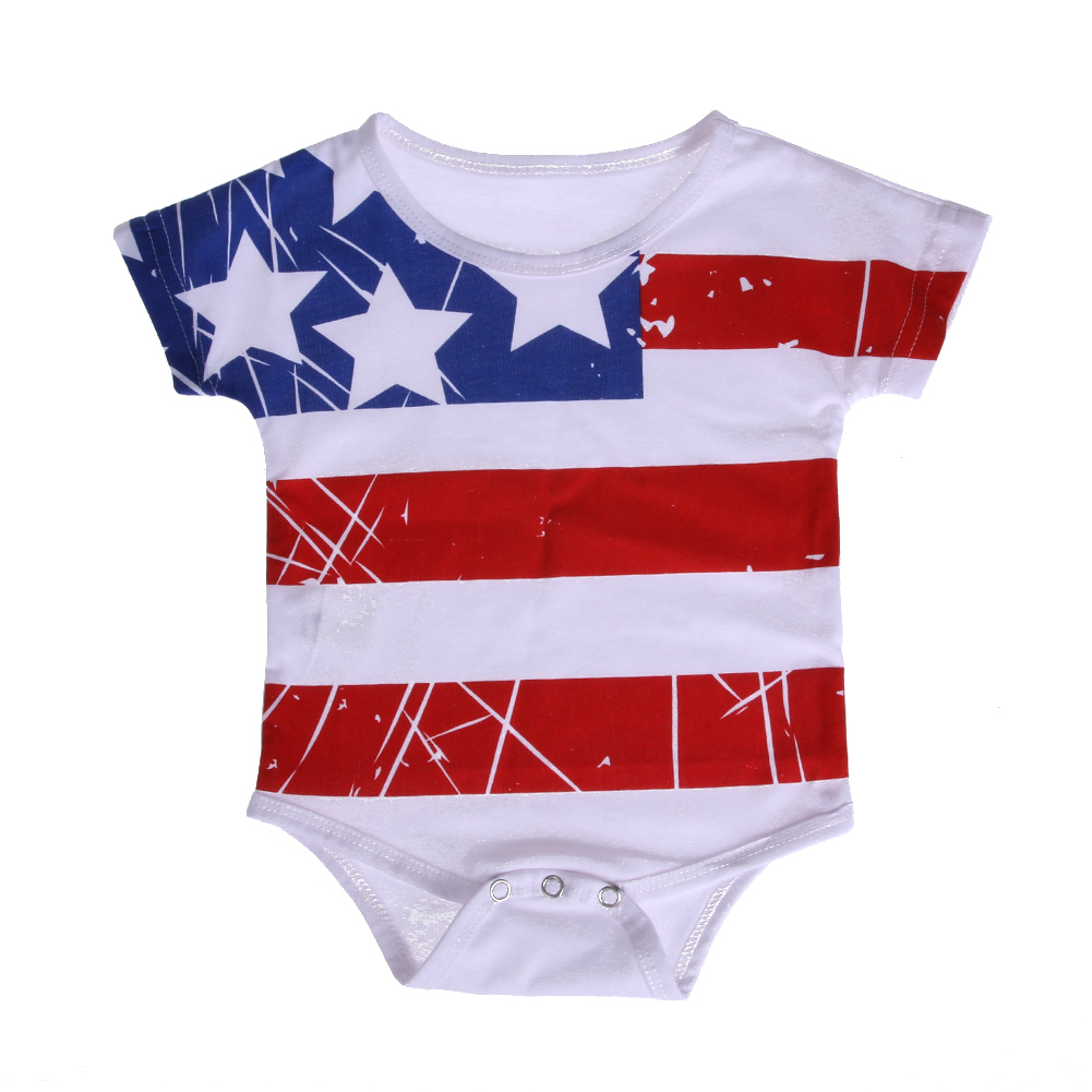 Summer Baby Romper Pentagram Stripe Short Sleeve Cotton Infant Baby Romper Jumpsuit Newborn Bebe Girls Clothes For 0-24M