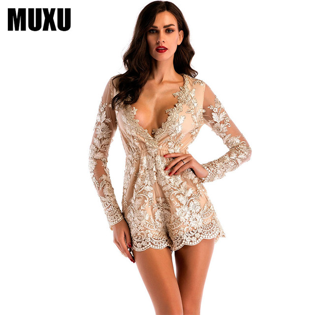 dbf499b228 MUXU sexy gold sequin summer v neck jumpsuit short women europe and the  united states jumpsuits