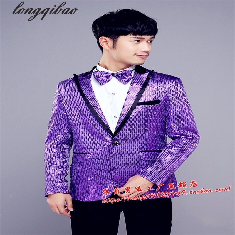 Men's black and white red powder pearl blue silver sequins costumes party host suit jacket TB7453