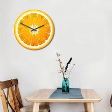 Acrylic Fruit Printed Wooden Digital Wall Clock Silent Quartz Home Decoration