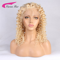 613 Long Blonde Curly Human Hair Wig Brazilian Short Lace Front Hair Wig Blonde Carina Remy Front lace wigs 130 Density