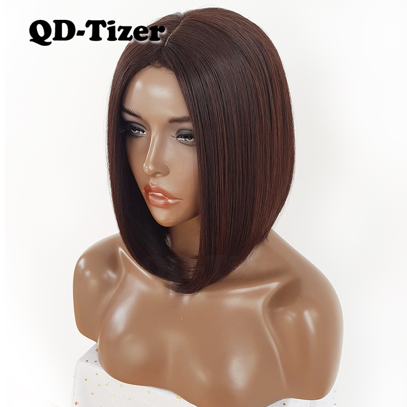 QD-Tizer Short Bob Hair No Lace Wigs Silky Top Heat Resistant Synthetic Glueless Wigs for Black Women