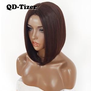 Image 1 - QD Tizer قصيرة بوب الشعر لا الدانتيل الباروكات حريري أعلى مقاومة للحرارة الاصطناعية غلويليس الباروكات للنساء السود
