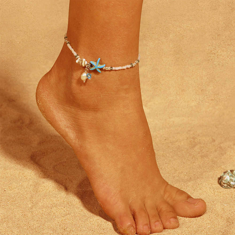 Starfish conch anklet Popular Resin Lady Fashion Beach Section  Beads Conch Starfish Shape Anklet Foot 2019 Foot Jewelry #T