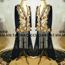 2019 Bar mens singer suit nightclub DJ guests concert heavy mirror tail two sets of stage costumes