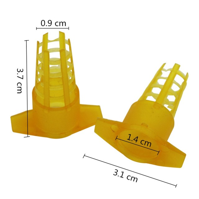 30Pcs Beekeeping Tools Yellow Plastic Bee Queen Cage Protective Cover Beekeeping Tools Cell Protector Cages