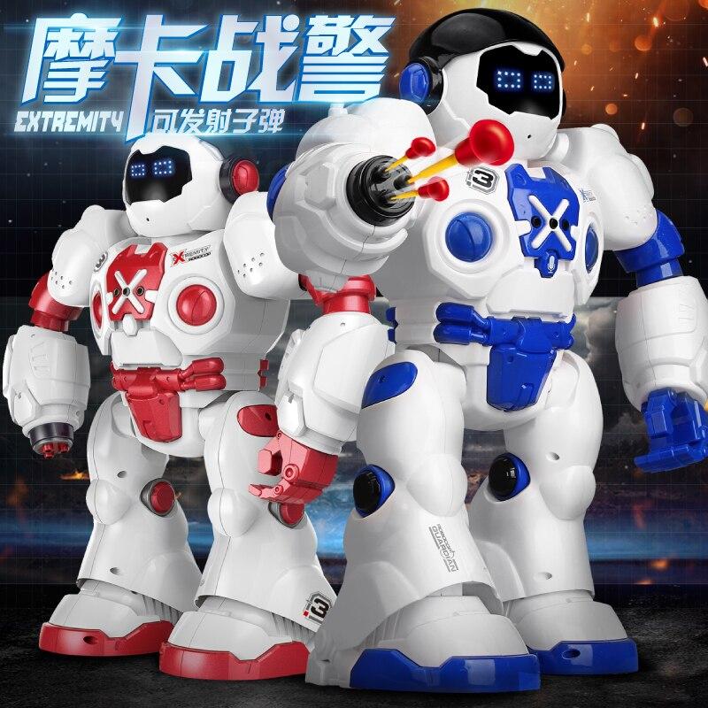 Grand robot télécommandé jouet sagesse dialogue 3-6 ans puzzle programmation bataille enfants guerre mécanique