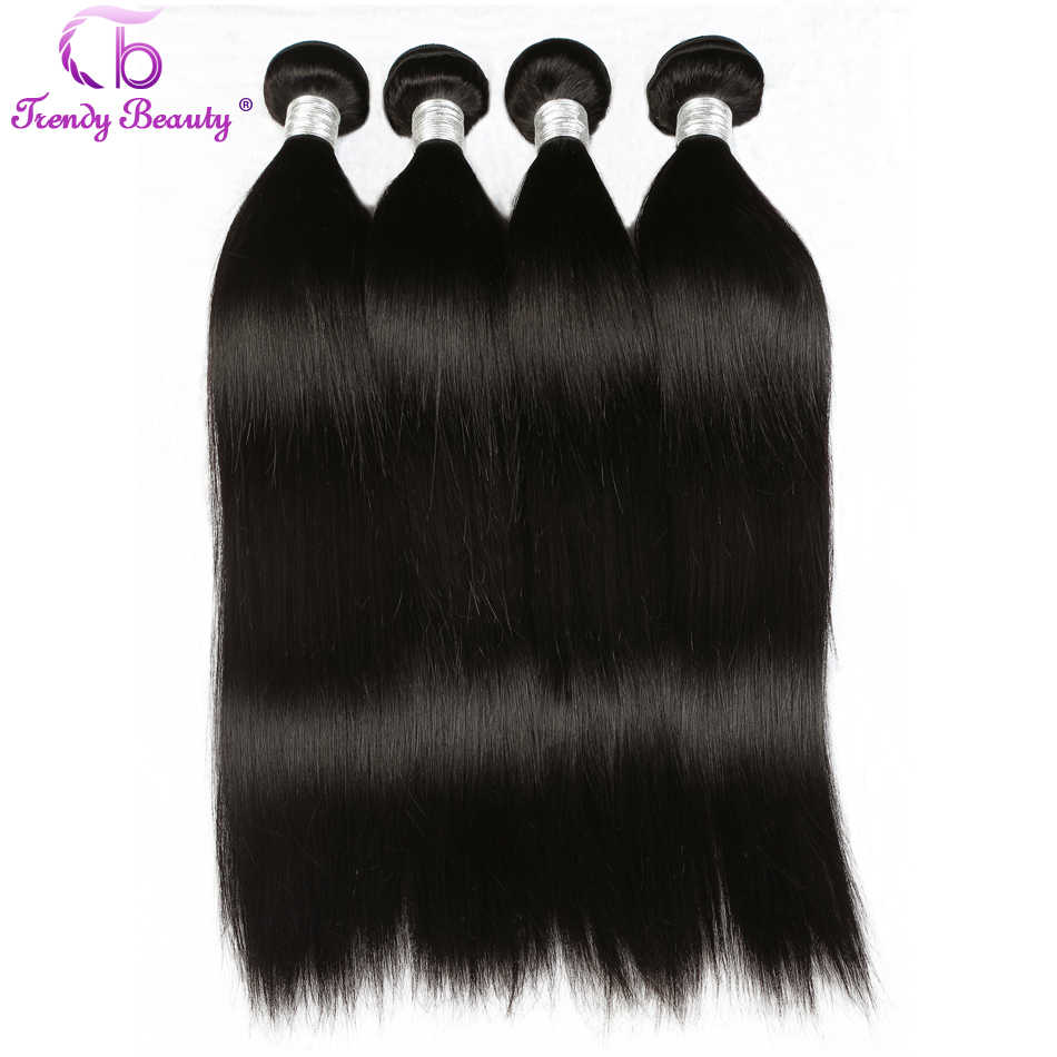 Peruvian Straight Human Hair 4 Bundles 8-30 Inches Non-Remy Double Weft 100% Human Hair Extensions can be dyed Trendy beauty