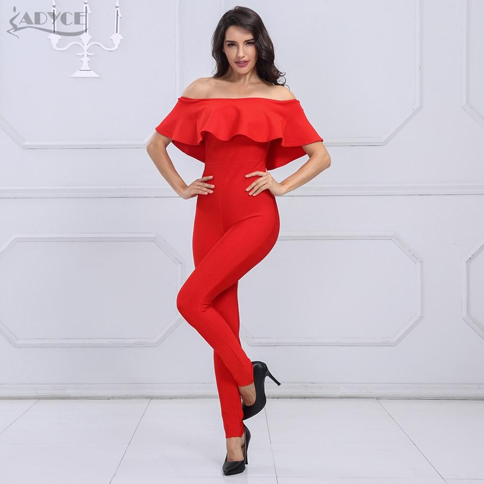Adyce 2019 New Fashion Autumn women Rompers Bodysuit Slash Neck Ruffles Full Length Celebrity party Bandage