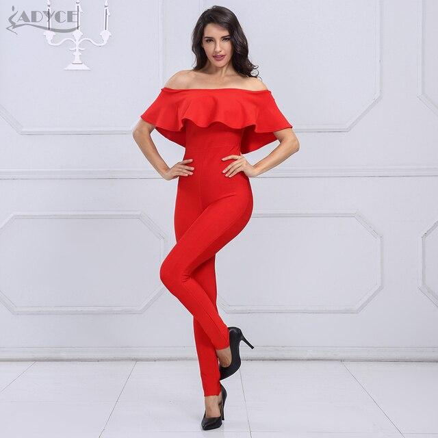 611ba56dec27 Adyce 2018 New Fashion Autumn women Rompers Bodysuit Slash Neck Ruffles  Full Length Celebrity party Bandage Jumpsuit wholesale