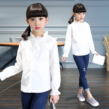 Tommy Carino Brand Students White Blouses For Girls School Uniforms Flower Collar Long Sleeve Shirts 2017 Spring Children Tops