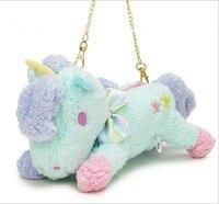 New Style 24x13Cm Pink Blue Cartoon Lovely Unicorn Plush Purse Cotton Horse Toys Stuffed Soft Backpacks
