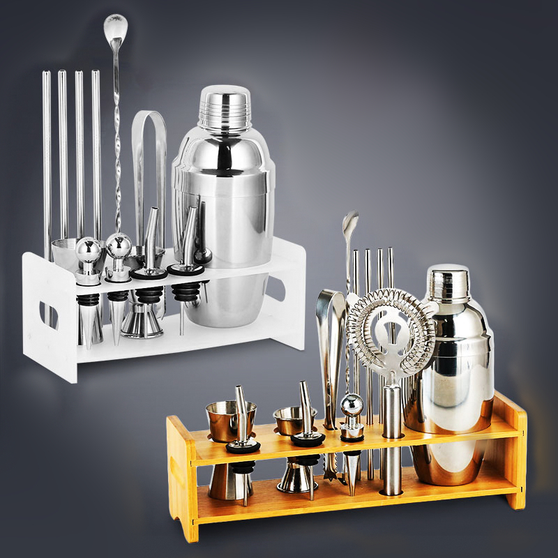 Plactic&Wood Holder Bar Set Stainless Steel Copper Plated Cocktail Shaker Mixer Drink Bartender browserKit Bars Set Tools