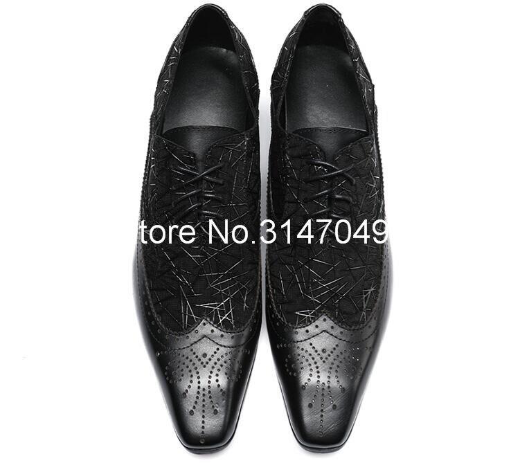 Zapatos negros con estampado de cuero para hombre, zapatos de vestir informales con cordones, hechos a mano zapatos de hombre, zapatos planos de punta cuadrada de talla grande novio, zapatos de boda, zapatos - 4