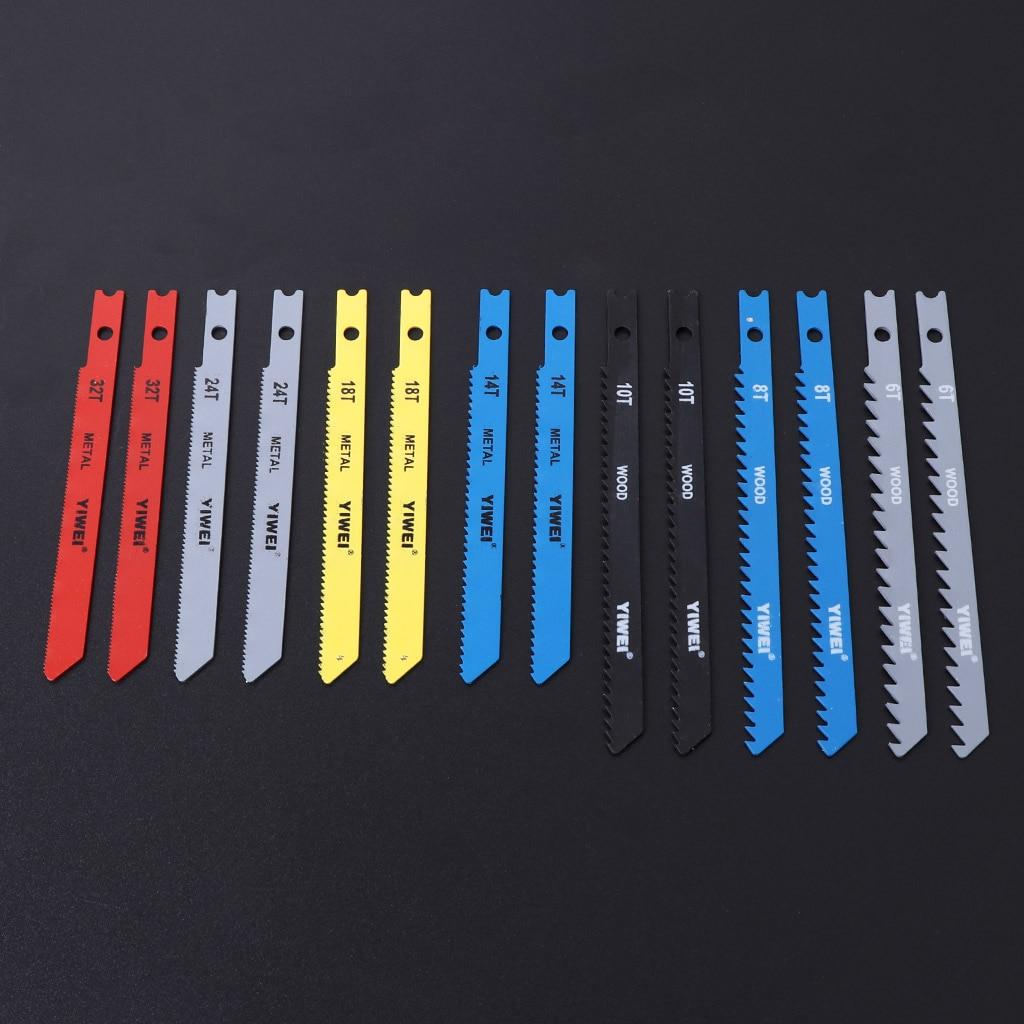 2019 High Quality New 14 Pcs Jigsaw Blades Set T Shank Fitting Jig Saw Metal Plastic Wood Blades