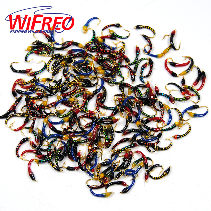 Wifreo 100pcs Assorted Epoxy Nymph Flies Midge Hegene Trout White Fish Fishing Bait Artificial Lures Size
