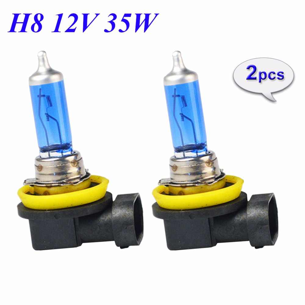 Hippcron 2 PCS 12V 35W H8 Super White Halogen Bulb 5000K Quartz Glass Xenon Dark Blue Car HeadLight