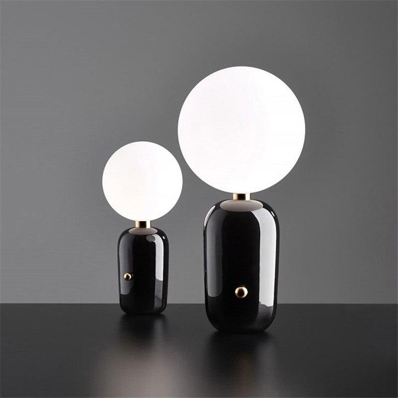Modern Glass Ball Table Lamp Gold/Black Metal E27 Light Bulb Source Lighting Fixture for bedroom living room
