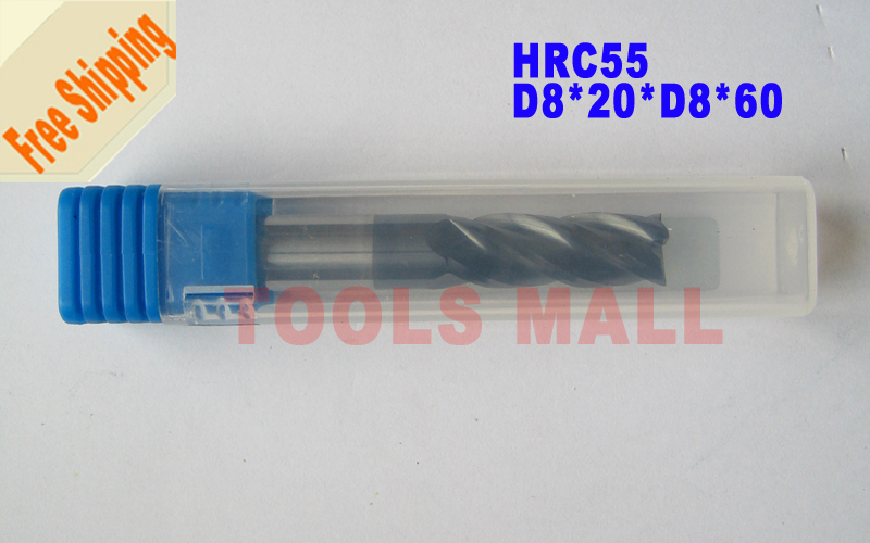 Free shipping 3pcs 8mm Four Flutes Spiral Bit Milling Tools Carbide CNC Endmill Router bits hrc55 D8*20*D8*60
