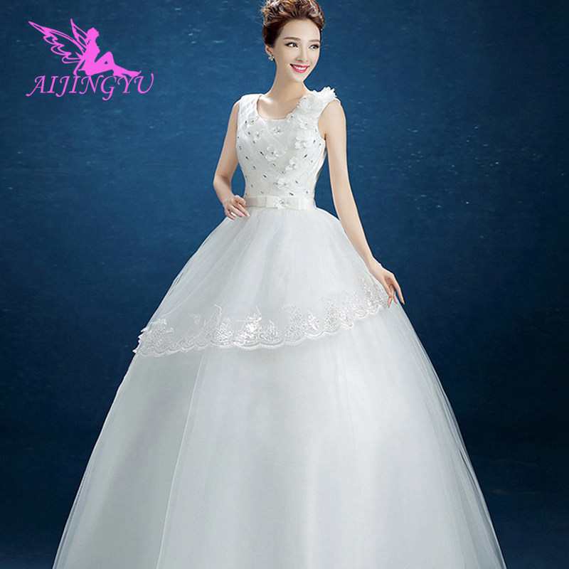 AIJINGYU 2018 Gowns Free Shipping New Hot Selling Cheap Ball Gown Lace Up Back Formal Bride Dresses Wedding Dress FU236