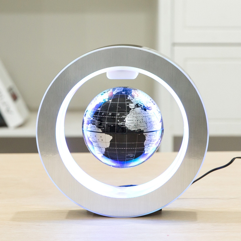 New Novelty Decoration Magnetic Levitation Floating Globe World Map with LED Light with Electro Magnet and Magnetic Field Sensor ...