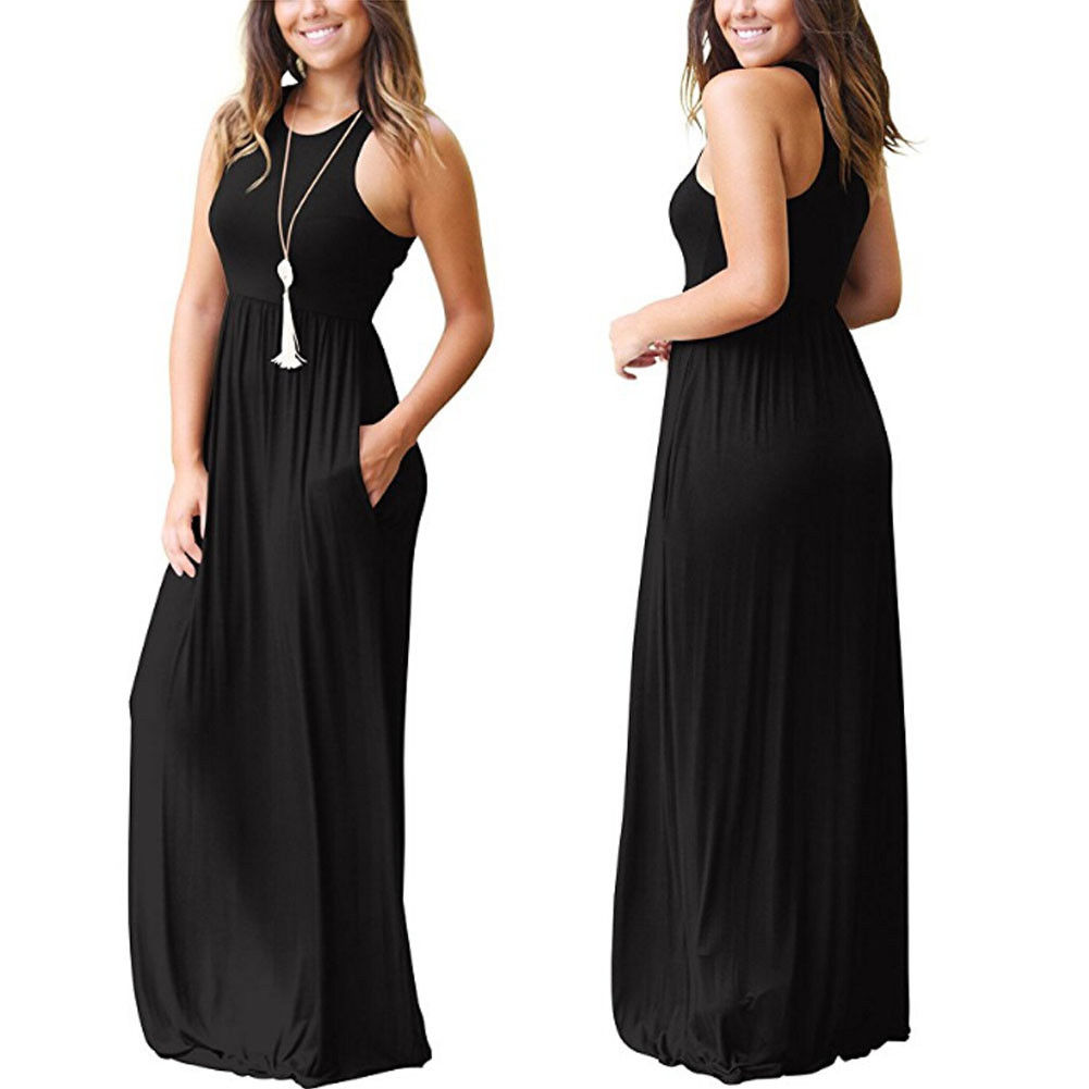 Sexy Women Boho Maxi Club Solid Sleeveless Vest Dress Bandage Long Dress Party Bridesmaids Infinity Robe Sexy Women Boho Maxi Club Solid Sleeveless Vest Dress Bandage Long Dress Party Bridesmaids Infinity Robe Longue Femme Dresses