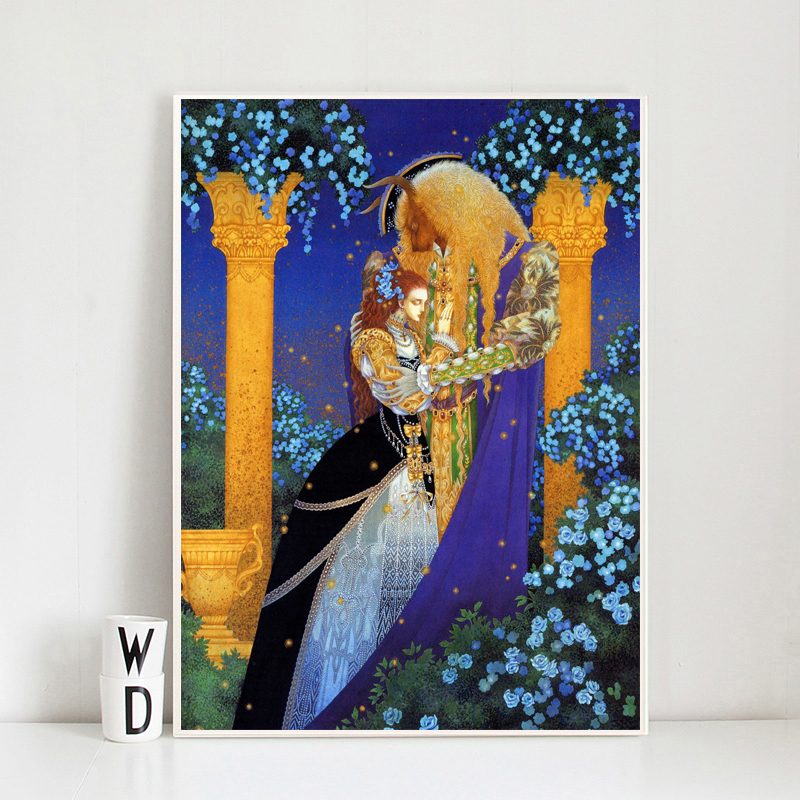 Beauty Beast Fairy Tales Anime Poster Canvas Painting Print Living Room Home Decor Modern Wall Art Oil Salon Pictures