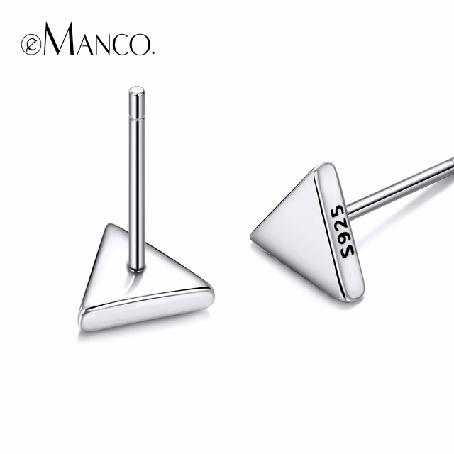 e-Manco Really 925 Sterling Silver Stud Earrings for Women Geometric Triangle Shape Simple and Cute Style Fine Jewelry