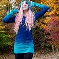 S-xl Casual cor gradiente moletom com capuz manga comprida gola Pullovers Hoodies mulheres primavera moletom feminino roxo azul