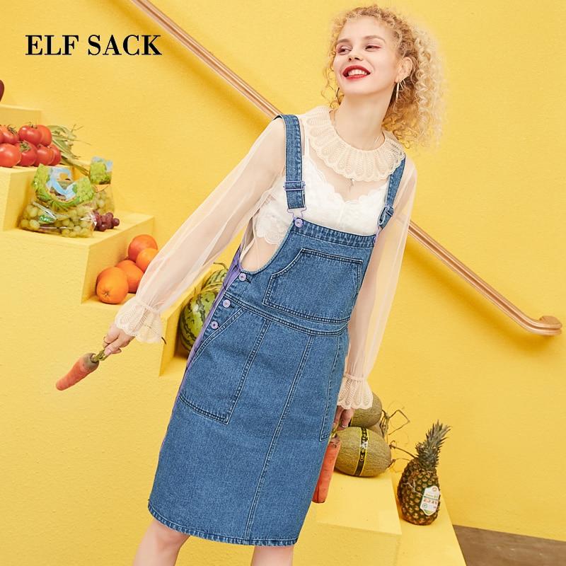 ELF SACK 2019 Spring New Woman Strap Dress Casual Cotton Straight Knee Length Women Dress Oversized