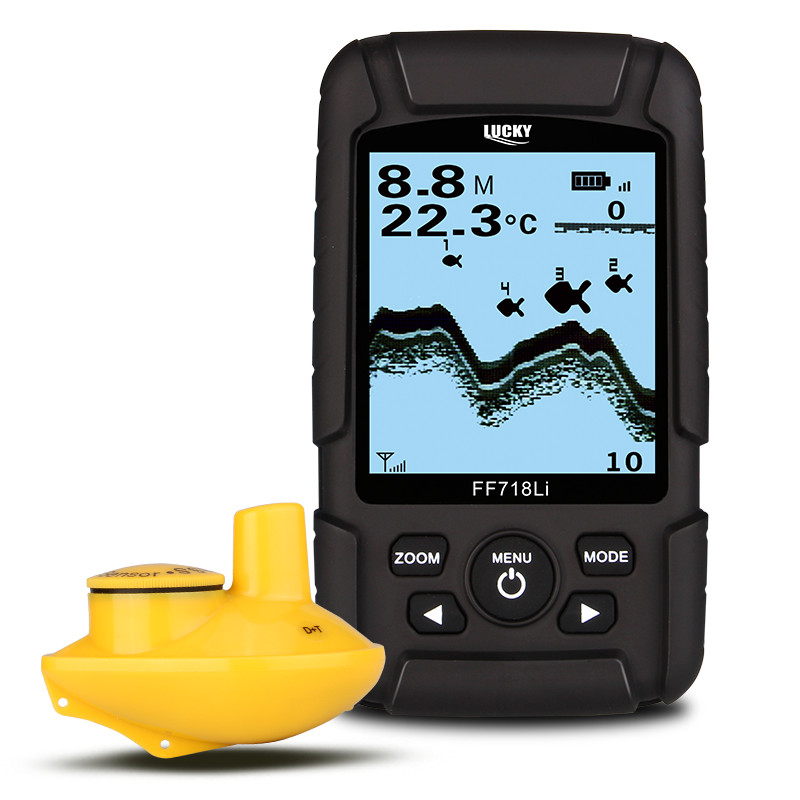 Lucky FF718Li-W Wireless Rechargeable Fish Finder 2.5inch LCD 45m Depth 180m Range Sonar Fish Location Detector Fishing Tools lucky ff 718 duo с зимним датчиком