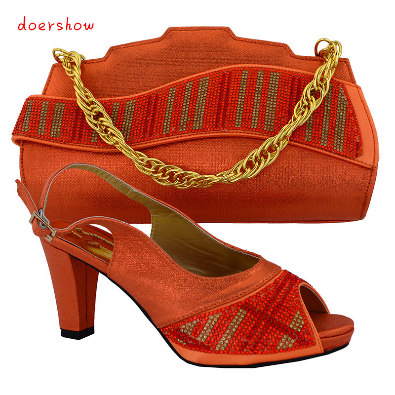 doershow Italian shoes with matching bag with rhinestone, open toe style high heels for wedding  party, Free Shipping!HVB1-13
