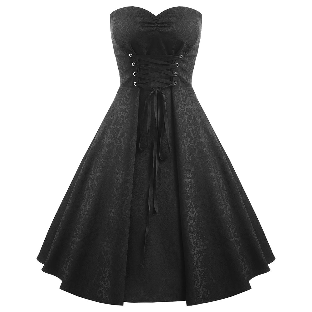 e0f5ceb45d6 ... Gothic Style Plus Size 5XL Lace Up Strapless Party Dress Black Jacquard  Feminino Vestidos Sexy Evening ...