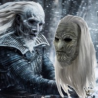 Game Of Thrones 8 Cosplay Mask Night's King Walker Full Face Costume Latex Halloween Night's Watch White Walkers With Wig Zombie