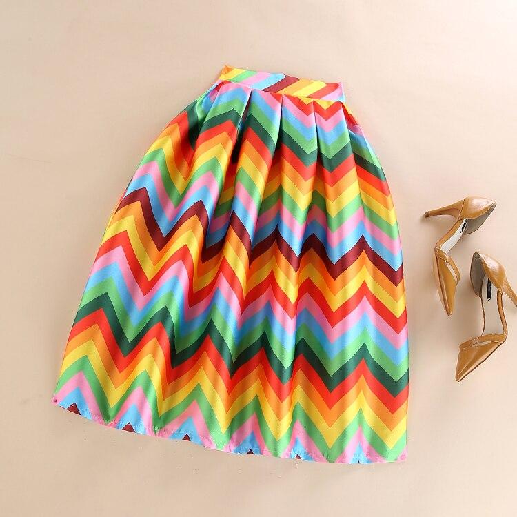 2016 New Summer Rainbow Skirt Womens Gorgeous Pleated Stripe Puff Skirts Ladies Saia Large Swing Midi Tutu Skirt Jupe Longue