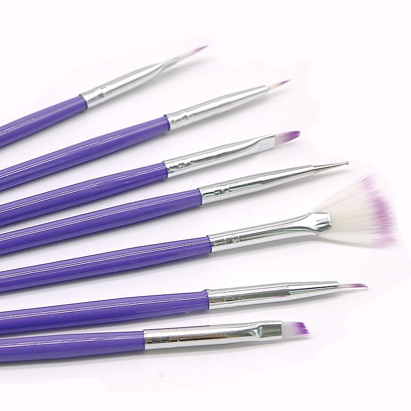 7pcs Purple DIY Painting Dotting Tool Brushes Pen Set Nail Design Brush Manicure Pedicure Make Up Nail Art Dotting Pen Brushes