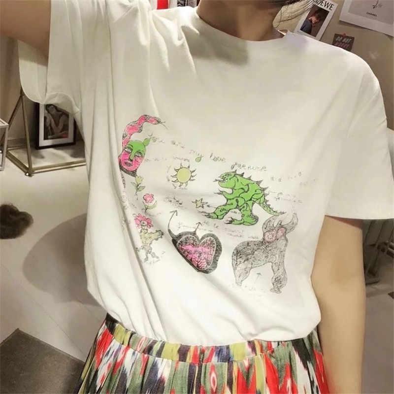 b8b39ec26 2018 Runway Designer Luxury T-shirts for Women Dinosaur Monster Letters  Graffiti Print Harajuku Summer